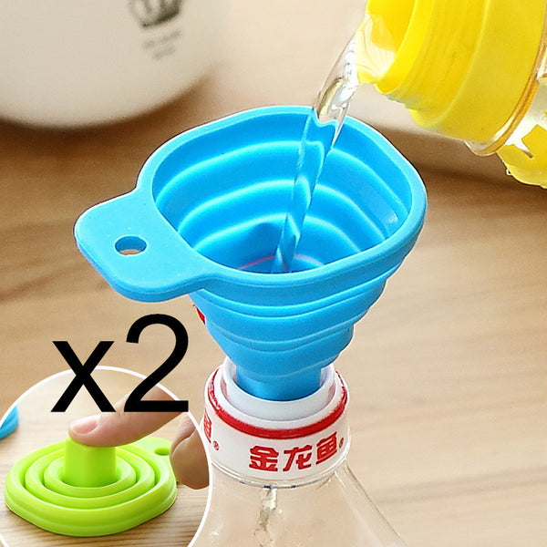 2Pcs Silicone Gel Foldable Collapsible Style Funnel Hopper Kitchen cooking tools Accessories gadgets outdoor