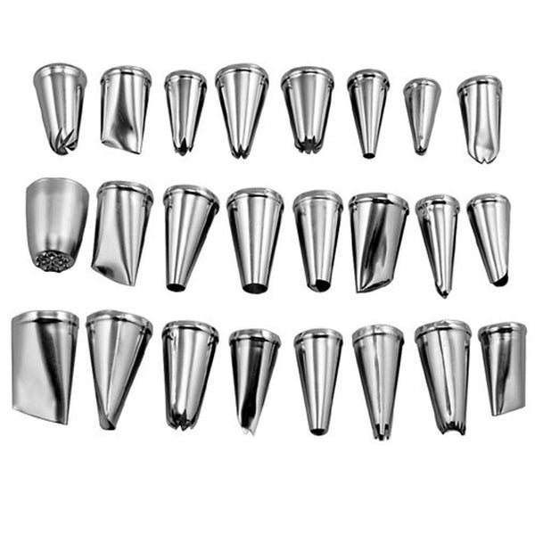 24Pcs/set Large Stainless Steel Icing Piping Nozzles Pastry Tips Set For Cake Decorating Sugar Craft Tool