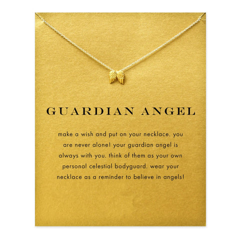 Guardian angel, angel wings gold plated Pendant necklace Clavicle Chains Statement Necklace Women Jewelry