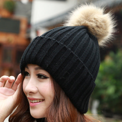 Female Classic Knitted Faux Fur Pom Poms Women Cap Headdress Head Warmer  Women s Winter Hats Skullies ... b50d0f470