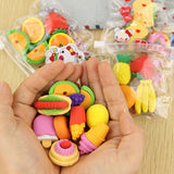 1 pack Cute Fruit Cuisine Shape Rubber Eraser Student Learning Stationery for Child Creative Gift