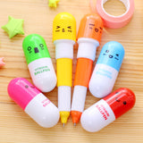 1PCS Kawaii Cartoon Novelty Creative Retractable Pill Shape Smiling Face Ballpoint Pen