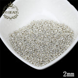 Super Small 2mm Czech Glass Seed Spacer Beads 1000pcs/lot Gun Black Color Austria Crystal Round Hole Bead For DIY Jewelry Making