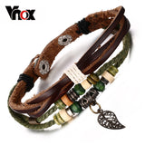 Vnox Brown Genuine Leather Bracelet Men's Bangle Stainless Steel Fashion Retro Anchor Charm Jewelry For Women