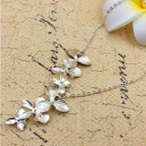 Women Flower Orchid Pendant Necklace Europe Vintage Style Simple Sliver Necklace Jewelry