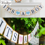 3M Paper Baby Shower Banner Garlands Party Decoration Kids Its A Boy Girl Bunting Photo Booth Props Favors Supplies
