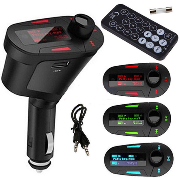 1pcs Pipe shape Car Kit MP3 Player Wireless FM Transmitter Modulator USB for LCD Remote Red