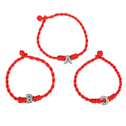 A-S Cord String Line Handmade Jewelry For Couple Women Bracelet Crystal Letters Charms Red Rope Lucky Bracelets for Women