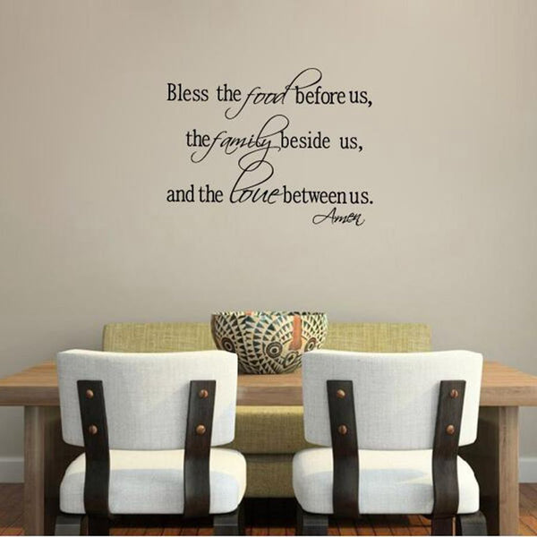 Christian wall stickers - Bless the Food Family Love Quotes Wall Decals Religious Art Decor