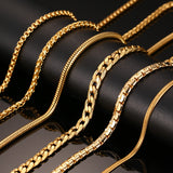 Vnox 24inch Gold Plated Chain Necklace Long Stainless Steel Metal Snake Cable Chain Necklace