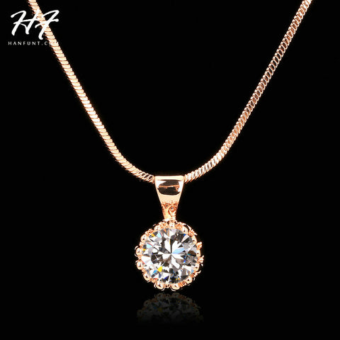 Top Quality Fashion Crown Pendant Necklace for Women Retro Vintage Classic Rose Gold Plated Cubic Zircon Stone Jewelry