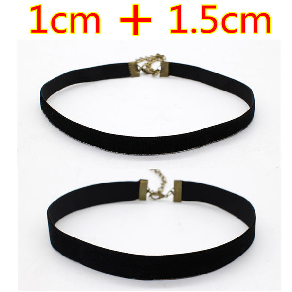 2pcs Punk Ribbon Round Black Velvet Choker Necklace For Women Gothic Handmade Retro Jewelry Statement Multi-size rope chain