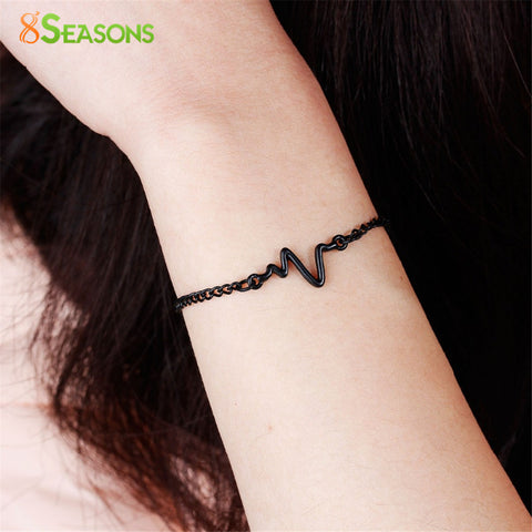 8seasons 3 colors Heartbeat Rhythm Chain Bracelet with Dangling Jewelry Bracelets Golden silver black