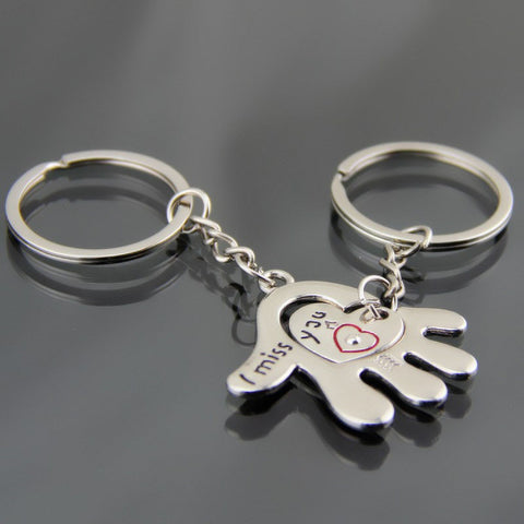 384e248243b 1 Pair Couple I LOVE YOU Letter Keychain Heart Key Ring Silver Plated  Lovers Love Key Chain Souvenirs
