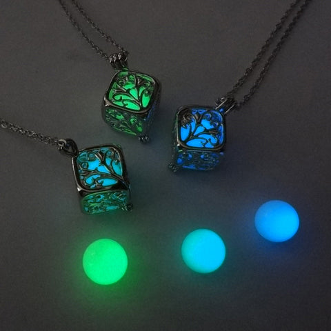 Tree Of Life Dark Luminous Necklaces Silver Color Chain Necklace Glowing in Dark Pendant Necklaces Jewelry