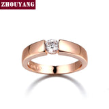 Zhouyang 4.5mm Hearts and Arrows AAA+ CZ Wedding Ring Rose Gold & White Gold Plated Classical Finger Ring
