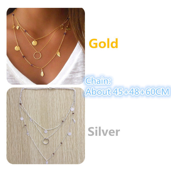 Kittenup Gold Silver Color fashion chain beads metal discs jewelry pendants multi layer necklaces for women