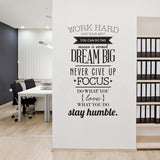 Work Hard Inspiring Vinyl Wall Sticker Quotes Poster Wall Art Decals Living Room Decoration Wallpaper Home Decor Wall Stickers