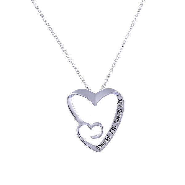 "Best friend Women/Girls Heart Chain Necklace Jewelry ""My Sister My Friend"" Double Heart Pendants Necklaces for Women"