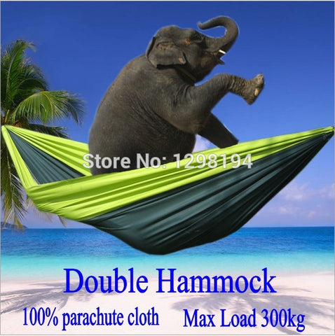 Portable Nylon Parachute Double Hammock Garden Outdoor Camping Travel Furniture Survival Hammock Swing Sleeping Bed For 2 People