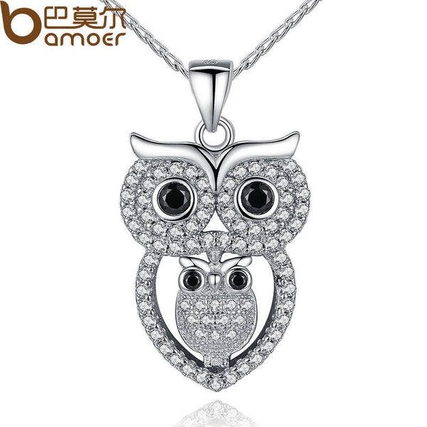 Vintage Owl Pendant Necklace with AAA Austrian Zircon  White Gold Plated Summer Collection Animal Jewelry