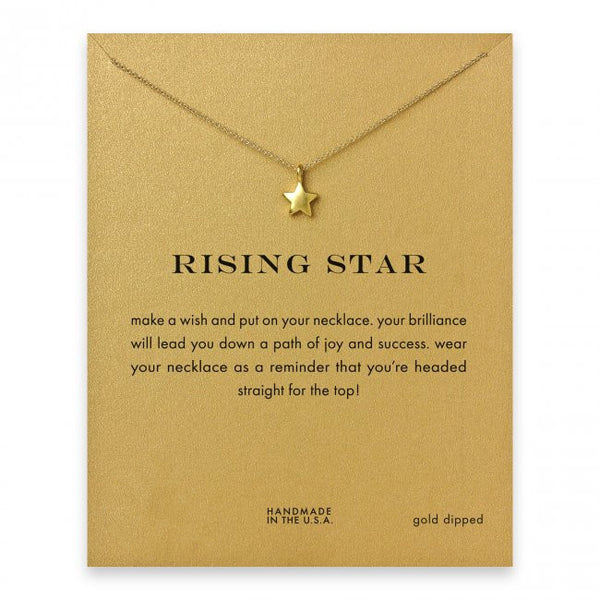 Sparkling full star gold color plated Pendant necklace Rising Star Clavicle Chains Statement Necklace Women Jewelry with card