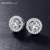 ANFASNI Romantic Jewelry Stud Earrings For Wedding Elegant Silver Color AAA  Cubic Zirconia Stone Earring