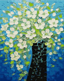 Modern diy oil on canvas paintings wall art home decor pictures Painting by numbers 40*50 cm Silver Flowers