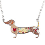 Statement Metal Alloy Enamel Dachshund Dog Choker Necklace Chain Collar Pendant Fashion Jewelry For Women