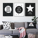 Modern Black White Nordic Kawaii Star Quotes Art Print Poster Wall Picture Nursery Canvas Painting No Frame Baby Room Decoration