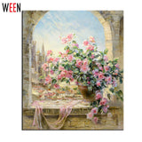 Window Flowers Scene Painting By Numbers DIY Kit Wall Pictures for living room Oil Coloring Painting By Numbers Canvas Arts