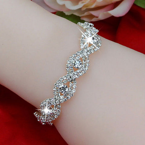Elegant Deluxe Silver Rhinestone Crystal Bracelet Bangle Jewelry For Women