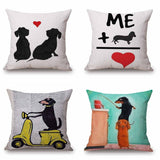 Angel Dachshund Sketch Cushion Cover 45X45cm Love Heart Sausage dog Pillow Cases Bedroom Sofa Decoration