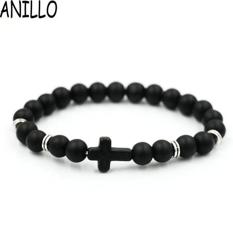 ANILLO Unisex Natural Stone Cross Men Bracelet Hand Work Black Onyx Volcano Matte Beaded Bracelets