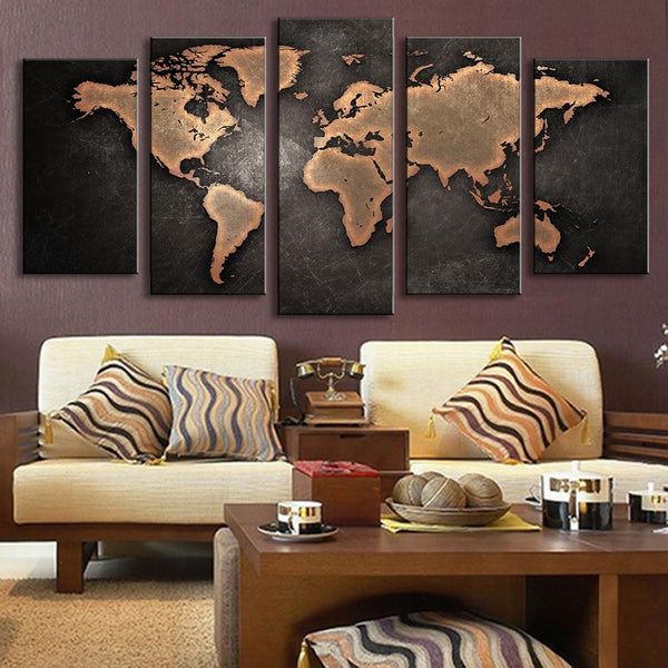 African Home Decor By 3rd Culture: 5 Panel Modern Abstract Wall Art Painting World Map Canvas
