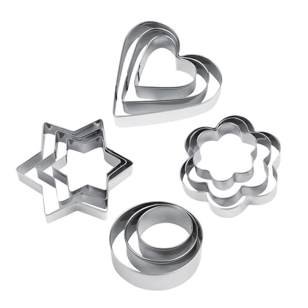 12pcs Stainless Steel Cookie Biscuit DIY Mold Star Heart Cutter Baking Mould