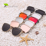 Womens Sunglasses Trendy Cat Eye Fashion Sunglasses Brand Woman Vintage Rose Gold Pink Sun Glasses for Women Shades