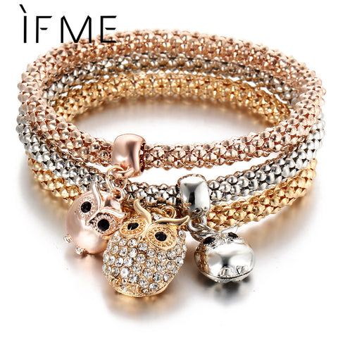 3 Pcs/Set Crystal Owl Crown Charm Bracelets & Bangles 3 Color Rose Gold Color Elephant Anchor Pendants Rhinestone Bracelet Women