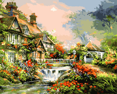 DIY oil painting by numbers canvas picture waterfall cottage coloring paint acrylic painting calligraphy by number wall decor