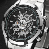 Winner Brand Men Full Stainless Steel Watch Men Skeleton Auto Mechanical Watch Self-Wind Male Dress Clock Relogio Masculino