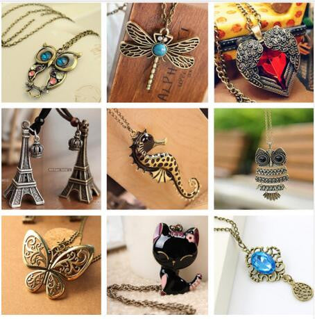 Vintage Birds Vintage Heart Feather Owl Butterfly Pendant Feather Cat Pendant Necklace One Way Necklace