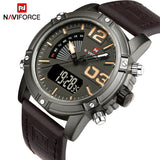 NAVIFORCE Fashion Luxury Brand Men Waterproof Military Sports Watches Men's Quartz Digital Leather Wrist Watch