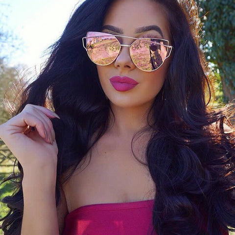 Cat Eye Sunglasses Women Brand Designer Twin-Beams Sun Glasses Mirror Flat Panel Love Punch Clear