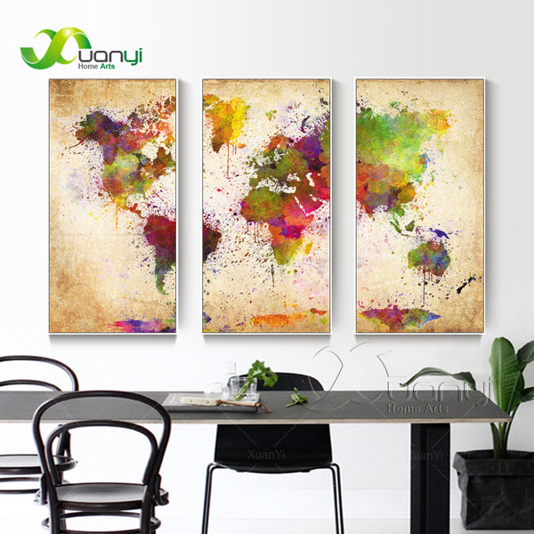 World Map Canvas Painting Wall Modular Picture For Living Room Classical Europe Type Watercolor Decoration Print Unframed
