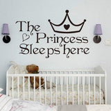 The Princess Sleeps Here, Vinyl Wall Stickers For Kids Room Wall Decals Home Decor Wall Art Quote Bedroom Wall paper