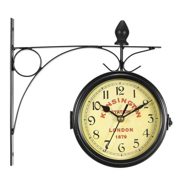 Vintage Decorative Double Sided Metal Wall Clock Antique Style Station Wall Clock Wall Hanging Clock Metal Frame + Glass Clock