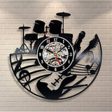 CD Vinyl Record Wall Clock Modern Design Musical Theme Decorative Black Art Watch Clock