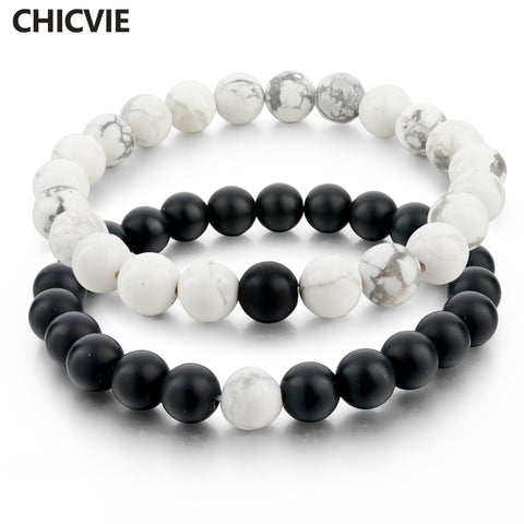CHICVIE Black and White Natural Stone Distance Bracelets for Women Men Strand Bracelets & Bangles Lovers Gifts Jewelry SBR160101