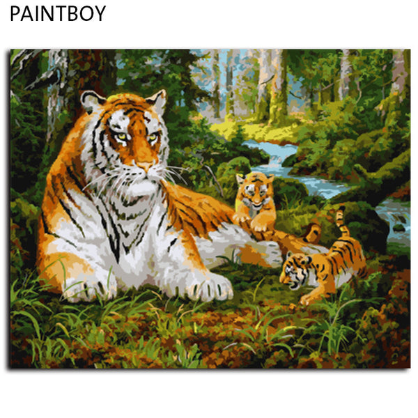 Frameless Painting By Numbers Animals Tiger DIY Oil Painting On Cnvvas Home Decor For Living Room g 40*50m Wall Art