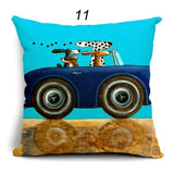 Pillow Lovely Cartoon Dog Driving Car Vintage 45X45CM Linen Pillow Decorative Linen Cushion Cover